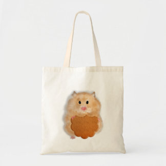 Cute hamster with biscuit illustration gift tote bag