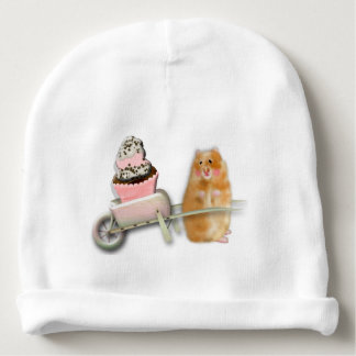 Cute hamster with muffin illustration gift baby beanie