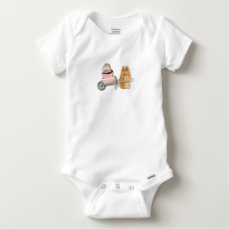 Cute hamster with muffin illustration gift baby onesie