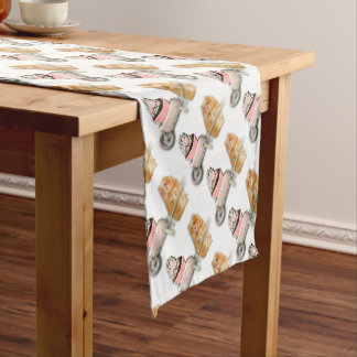 Cute hamster with muffin illustration gift short table runner