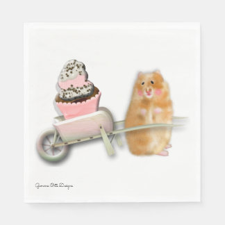 Cute hamster with muffin paper napkin. disposable napkins