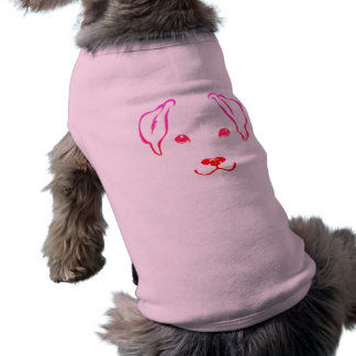 Cute Hand Drawn 5 Lines Dog Pink Pet Clothes