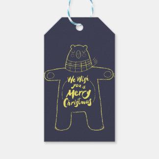 "Cute hand drawn bear ""Merry Christmas"" navy blue"