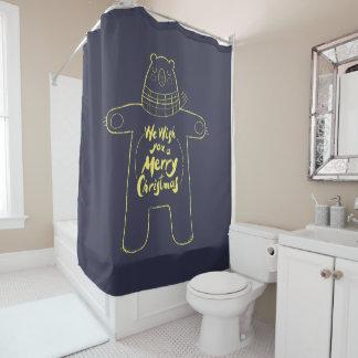 "Cute hand drawn bear ""Merry Christmas"" navy blue Shower Curtain"