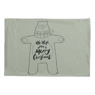 "Cute hand drawn bear ""Merry Christmas"" - Xmas gift Pillowcase"