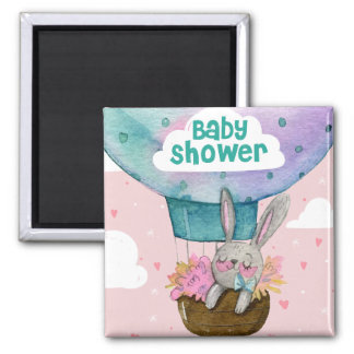 Cute hand drawn bunny baby shower invitation magnet