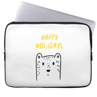 "Cute hand drawn Christmas beer ""Happy holidays"" Laptop Sleeve"