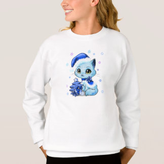 Cute Hand Drawn Christmas Cat Girl's Sweater