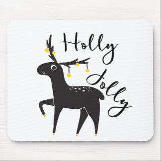 "Cute hand drawn Christmas Deer ""Holly Jolly"" Mouse Pad"