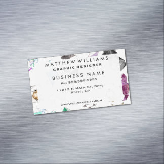Cute Hand Drawn Geometric Paper Origami Animals Magnetic Business Cards