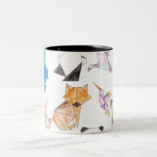 Cute Hand Drawn Geometric Paper Origami Animals Two-Tone Mug