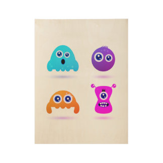Cute hand-drawn Germs and Worms : wooden poster