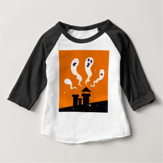 Cute hand-drawn Ghosts on Orange Baby T-Shirt