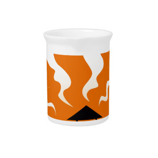 Cute hand-drawn Ghosts on Orange Pitcher