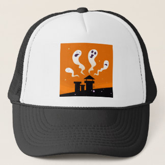 Cute hand-drawn Ghosts on Orange Trucker Hat