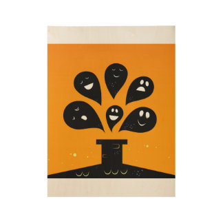 Cute hand-drawn Ghosts on wood Wood Poster