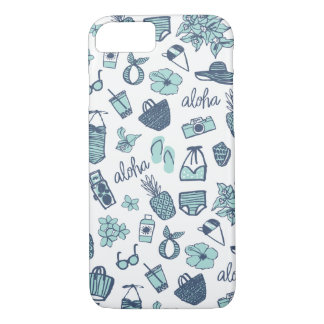 Cute Hand-Drawn Hawaiian Teal and Navy Phone Case