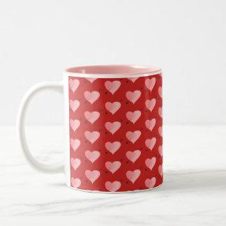 Cute Hand Drawn Heart Pattern Vibrant Pink Red Two-Tone Coffee Mug