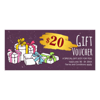 Cute hand drawn illustration gift voucher template full color rack card