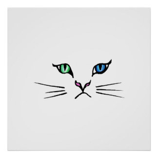 Cute Hand Drawn Kitten Face Poster