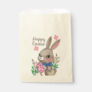 Cute hand drawn Miss Easter bunny and eggs Favour Bag