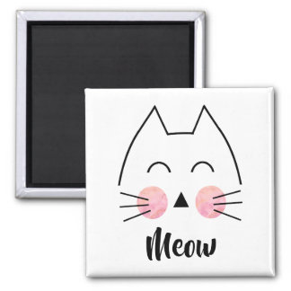 Cute Hand-Drawn Watercolor Cat Meow Magnet