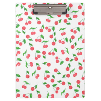 cute hand drawn watercolor cherry pattern clipboard