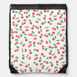 cute hand drawn watercolor cherry pattern drawstring bag