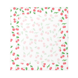 cute hand drawn watercolor cherry pattern notepad