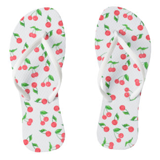 cute hand drawn watercolor cherry pattern thongs