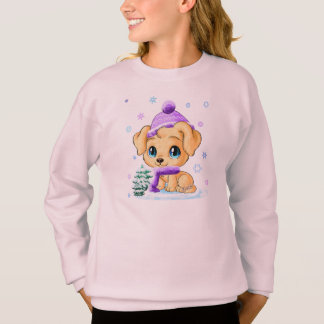 Cute Hand Drawn Winter Puppy Girl's Pink Sweater