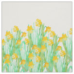 Cute hand drawn yellow watercolor daffodil fabric