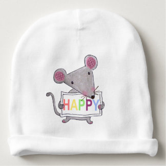 cute hand painted mouse holding a HAPPY sign board Baby Beanie