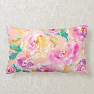 Cute Hand Painted Watercolor Flowers Lumbar Pillow