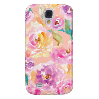 Cute Hand Painted Watercolor Flowers Samsung Galaxy S4 Covers