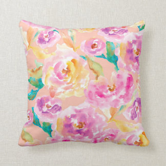 Cute Hand Painted Watercolor Flowers Throw Pillow