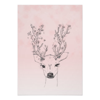 Cute handdrawn floral deer antlers pink watercolor poster