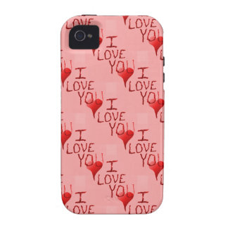 Cute Handdrawn I Love You Heart Valentine's Day iPhone 4 Cases