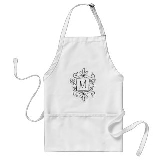 Cute handdrawn monogram baking apron for women