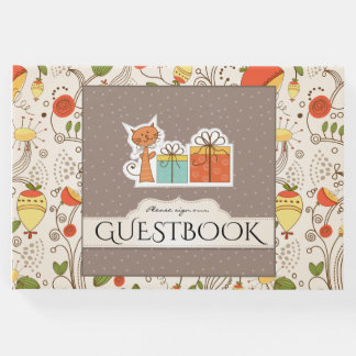 Cute handmade rustic kitty character baby shower guest book