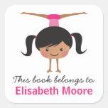 Cute handstand gymnast girl cartoon bookplate book square sticker