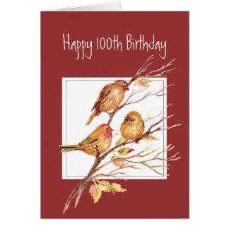 Cute Happy 100th Birthday Song Sparrows Card