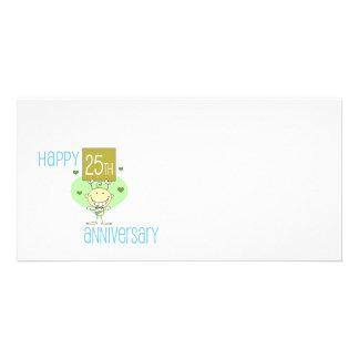 """Cute, """"Happy 25th Anniversary"""" design Picture Card"""