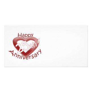"Cute, ""Happy 25th Anniversary"" Heart design Custom Photo Card"