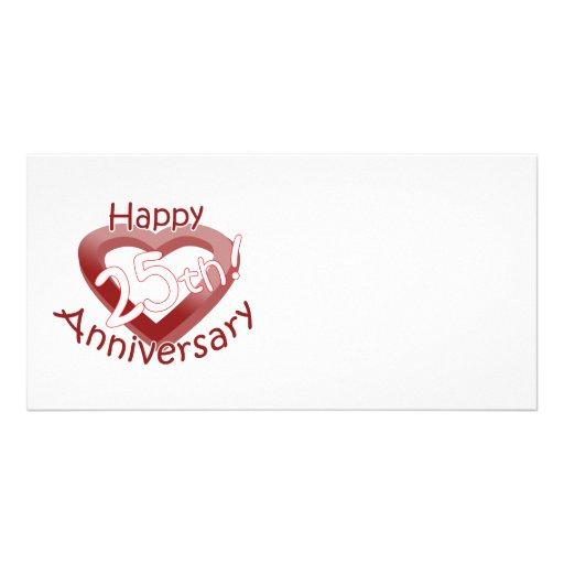 "Cute, ""Happy 25th Anniversary"" Heart design Photo Card Template"
