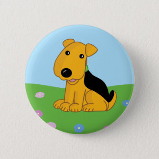 Cute Happy Airedale Terrier Puppy in Field  Button