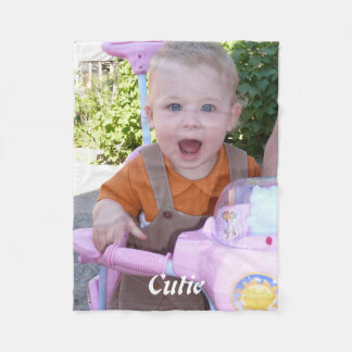 Cute happy baby - Create Your Own Photo and Name Fleece Blanket