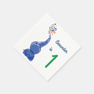 Cute happy baby elephants design disposable serviettes