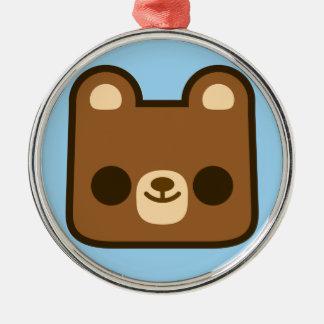 Cute Happy Bear Face on Blue Christmas Tree Ornaments