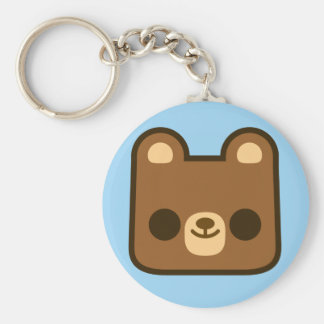 Cute Happy Bear Face on Blue Key Chains